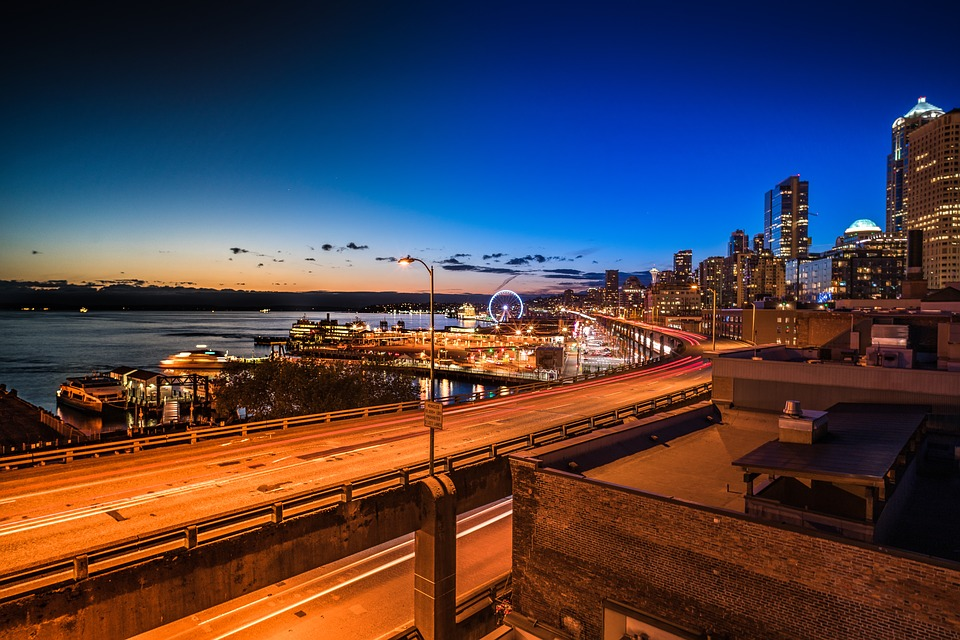 Nightscape, City, Seattle, Highway, Sunset, Water, Sky
