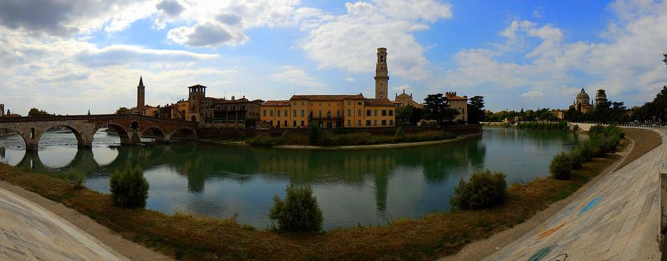 River, City, Verona, Bridge, Adige, Water, Sky, Clouds