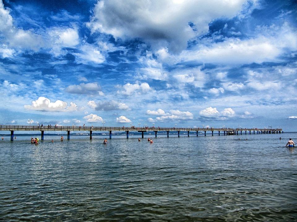 Binz, Germany, Pier, Sky, Clouds, Sea, Ocean, Water