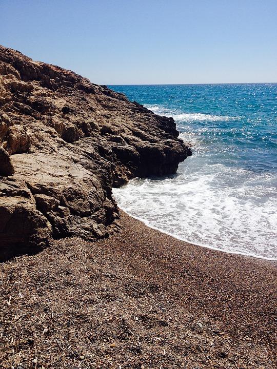 Beach, Coast, Sea, Blue, Spain, Water, Outlook, Pebble