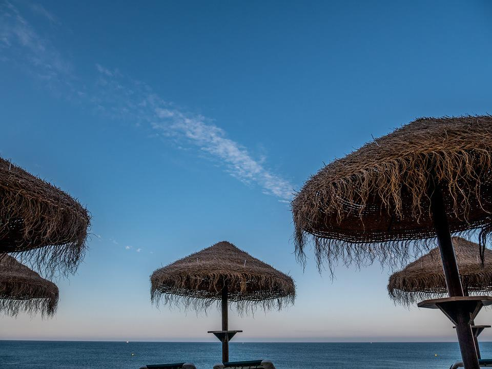 Portugal, Parasol, Sky, Rock, Beach, Sea, Water, Coast