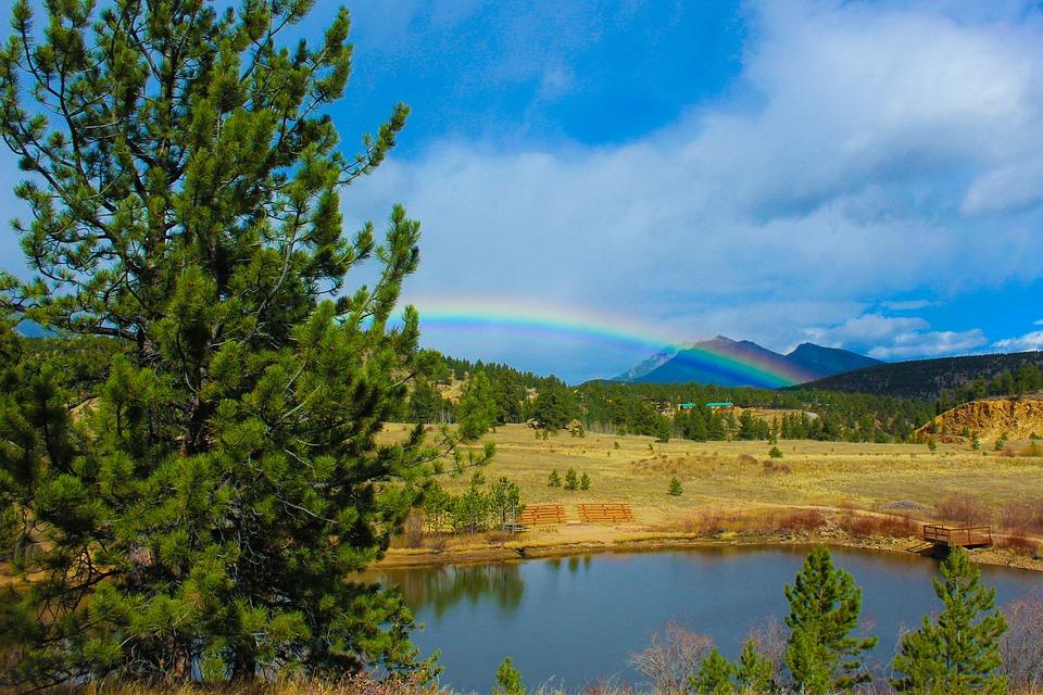 Rainbow, Colorado, Water, Mountain, Sky, Colorful