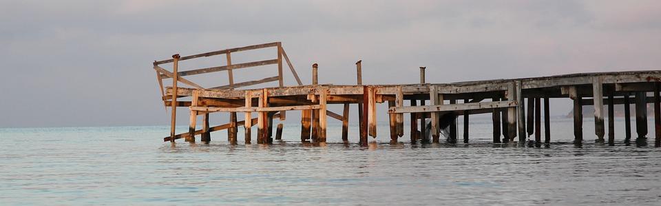 Greece, Corfu, Sea, Water, Scaffolding, Expired