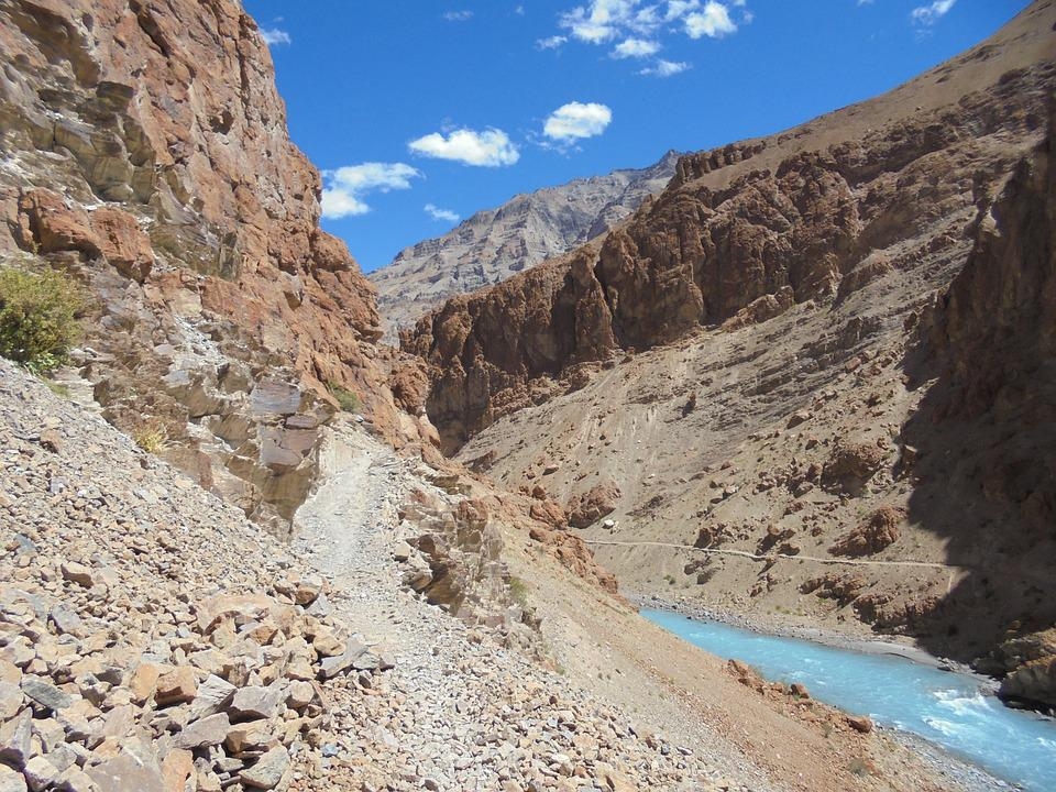 River, Water, Blue, Water Courses, Mountain