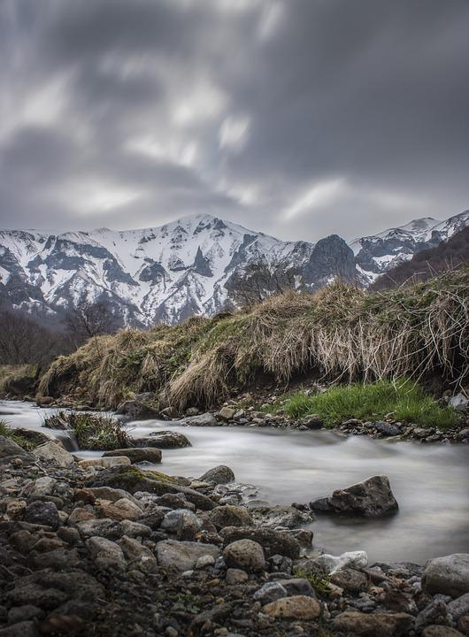 Mounting, Water Courses, Nature, Landscape, River, Snow