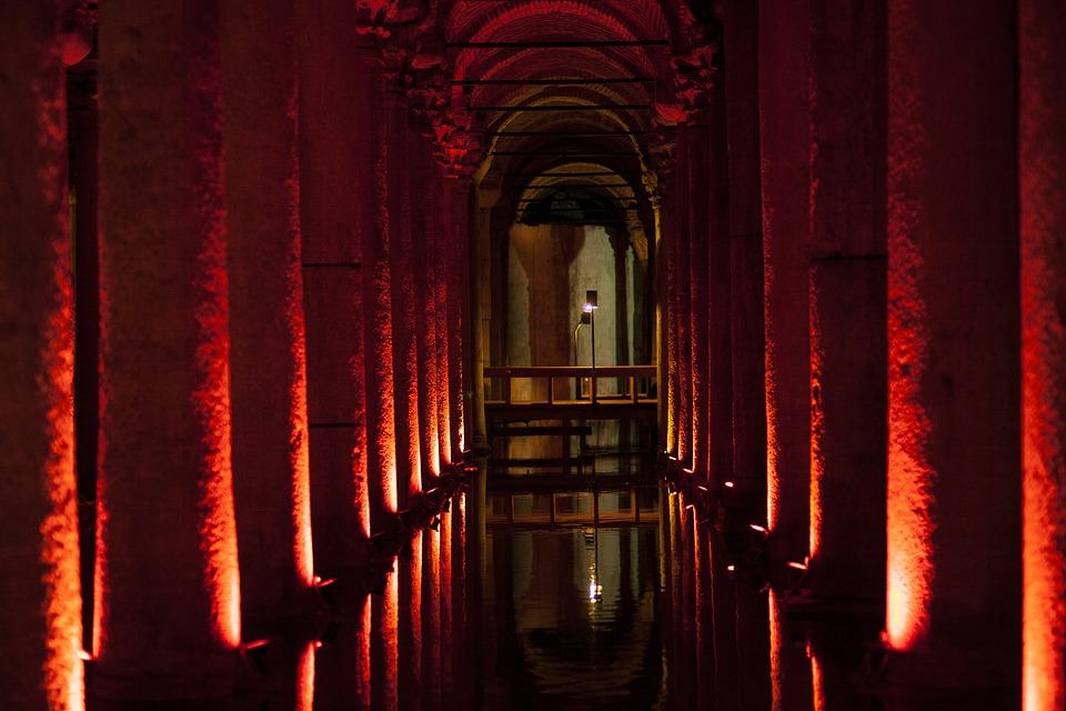Old, Wall, Date, Cistern, Light, Dark, Water, Symmetry