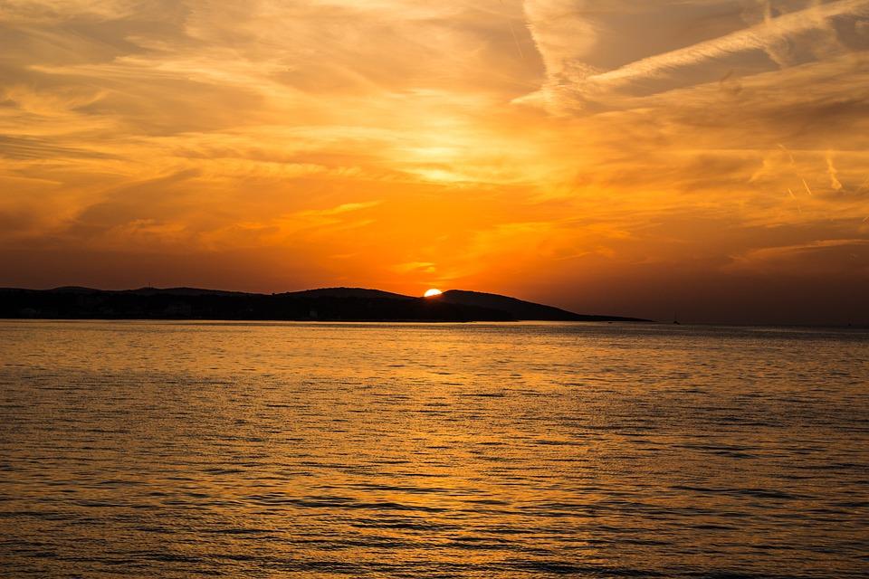Ocean, Sunset, Sea, Silhouette, Dusk, Water, Scenery