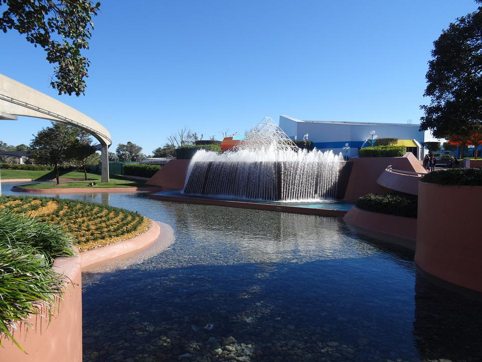 Disney, Fountain, Epcot, Water