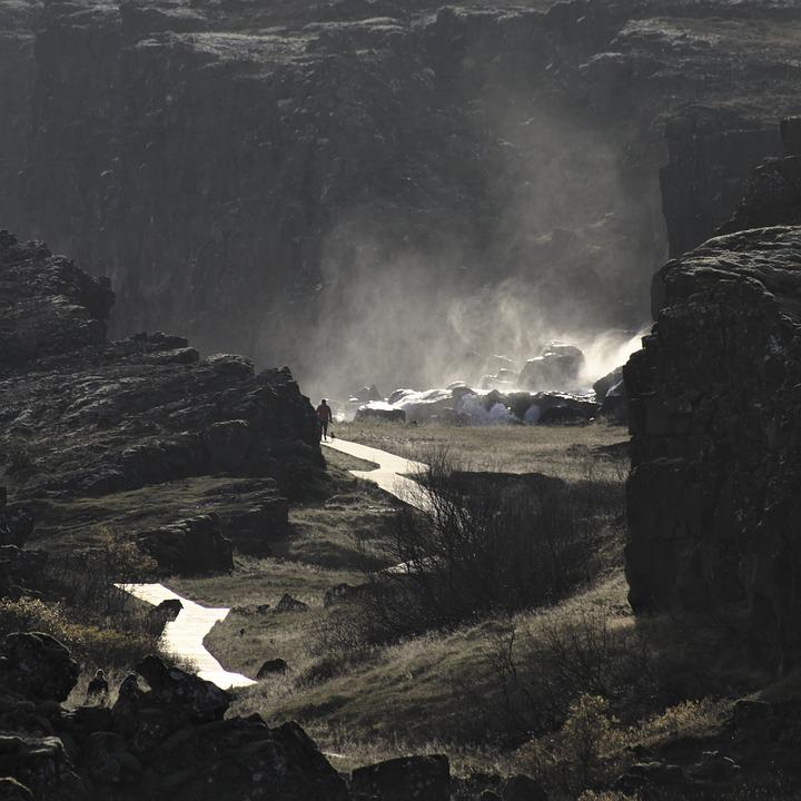 Nature, Waterfall, Water, Rock, Fault, Iceland