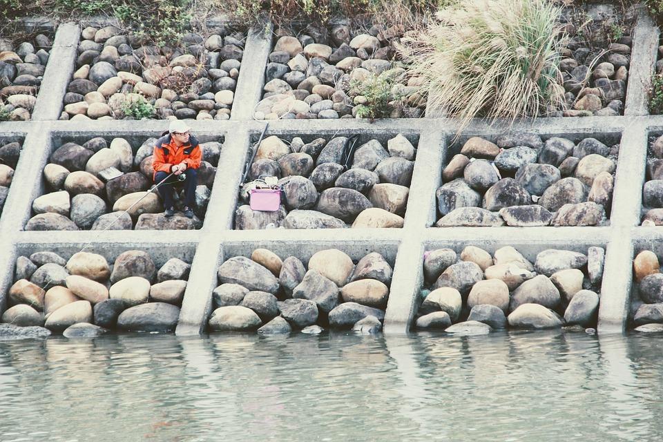Fisherman, Stone Slope, Fishing, Fish, River, Water