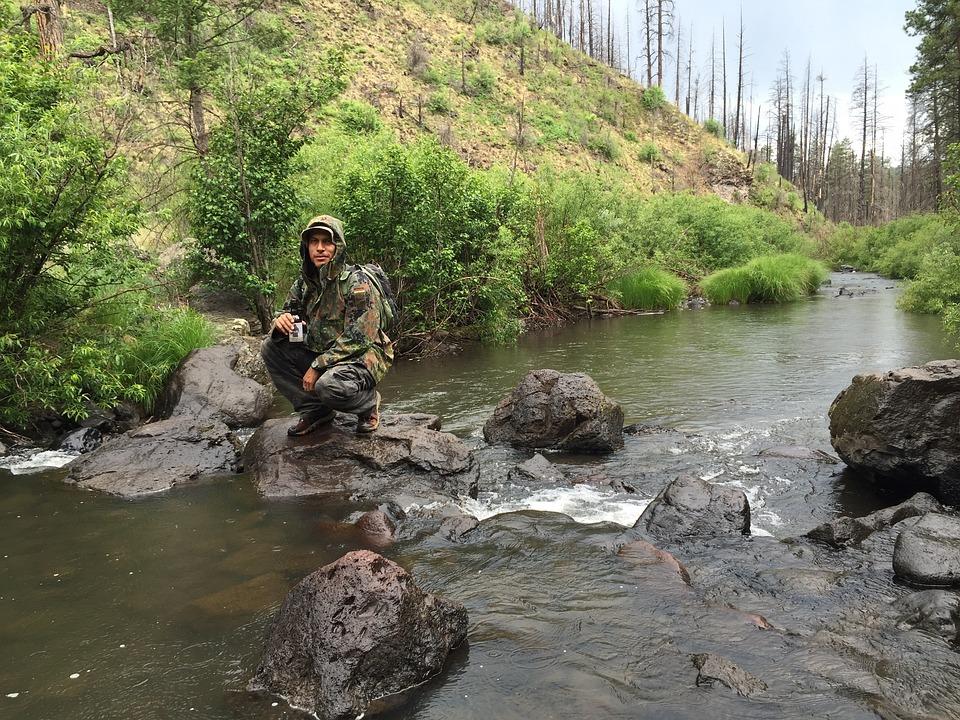 Camper, River, Nature, Fishing, Creek, Water