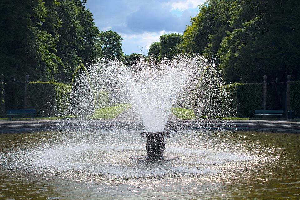 Fountain, Park, Water, Garden, Historically, Germany
