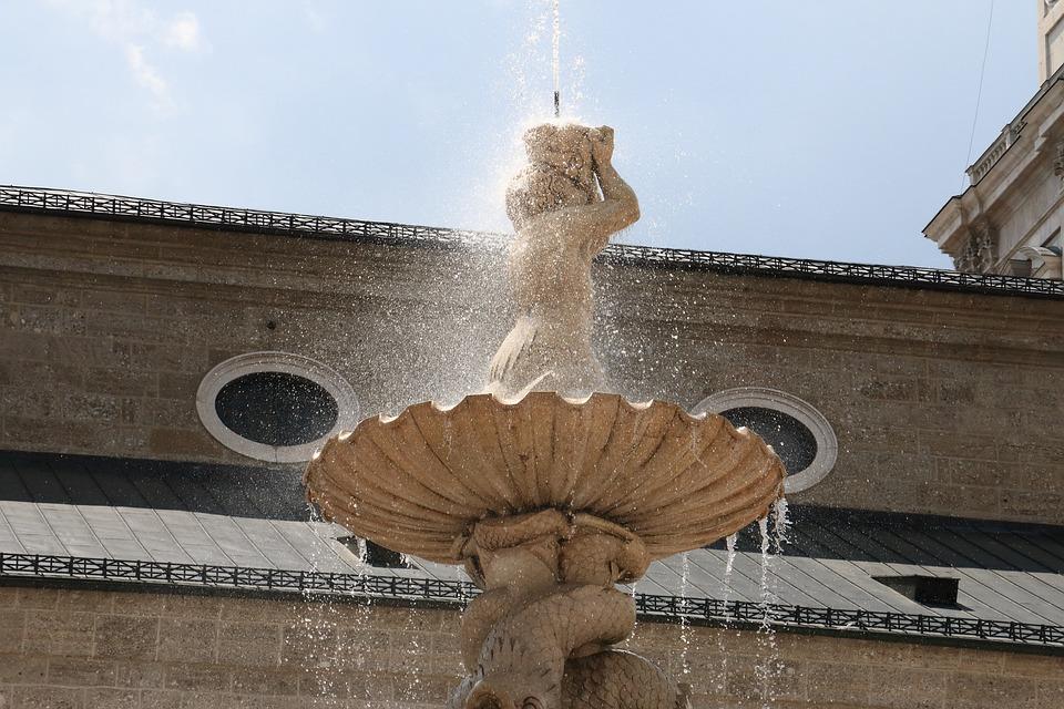 Fountain, Water, Summer, Buildings, Salzburg, Stone