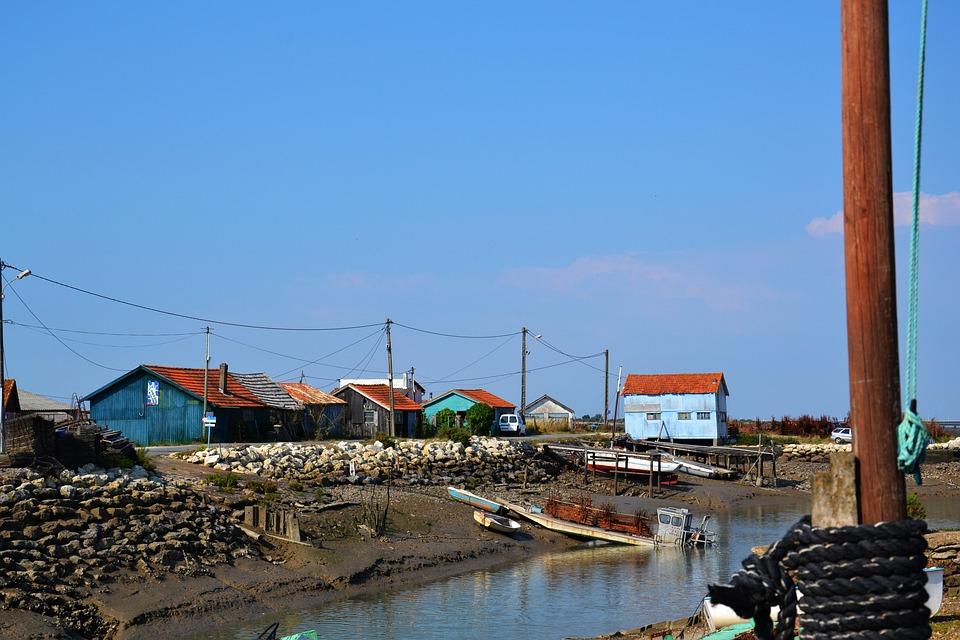 Oléron, Island, Port, Water, Cabins, France, Sky, Blue