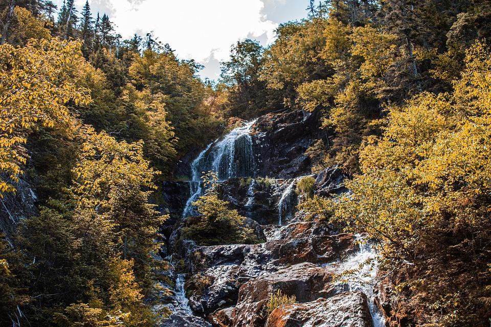 Waterfall, Summer, Water, Mountain, Fresh, Nature