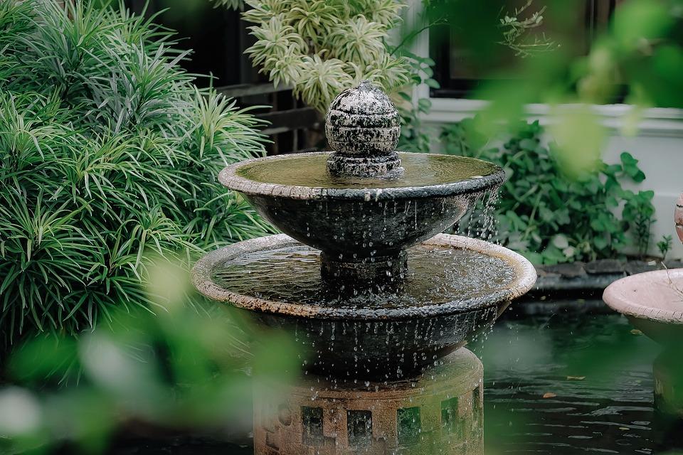 Fountain, Splash, Flow, Water, Wet, Garden