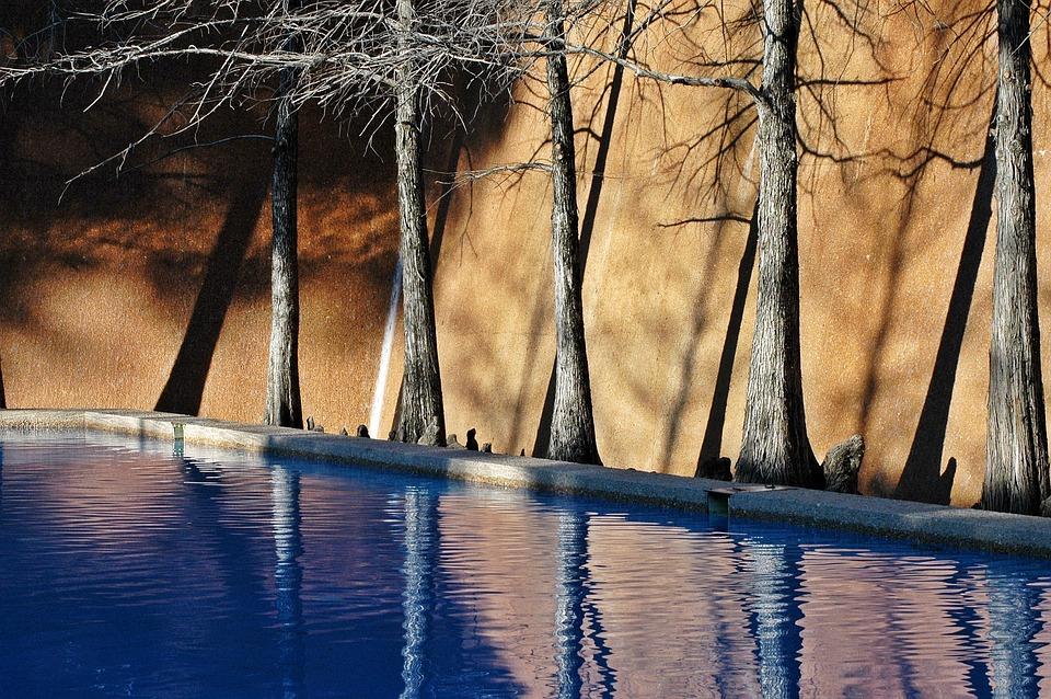 Fort Worth, Texas, Water Gardens, Fountain, Spray, Blue