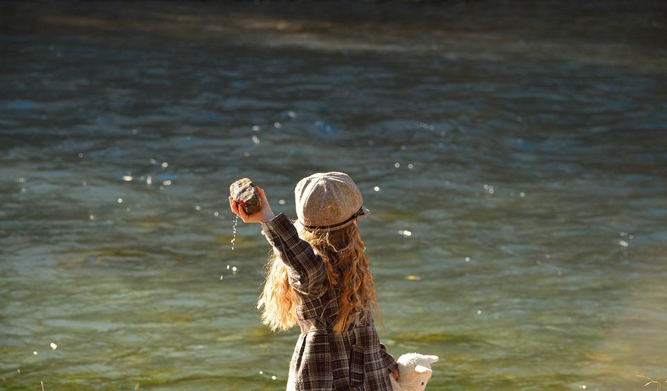 Child, Girl, Water, Stone