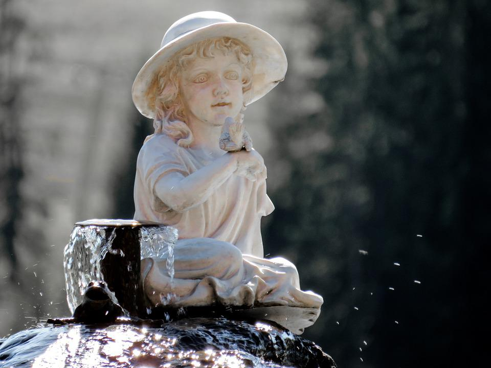 Fountain, Girl, Fig, Water, Close, Sculpture