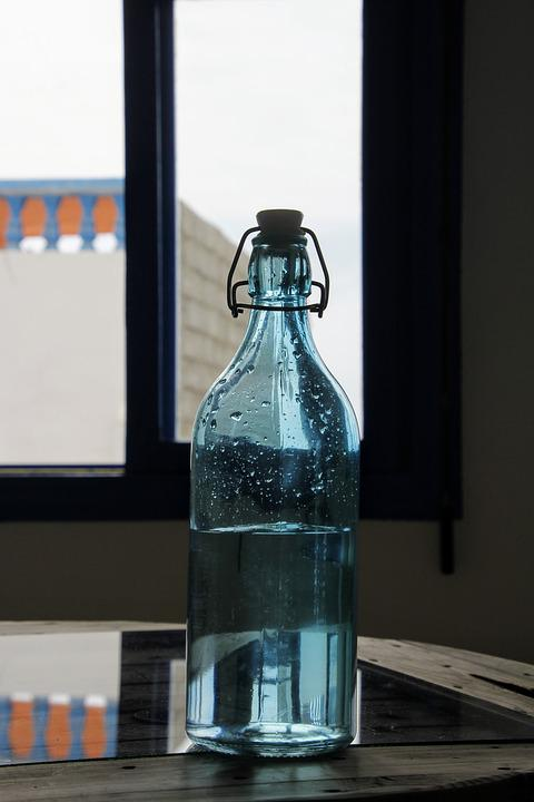 Glass Bottle, Blue, Water, Water Bottle, Glass, Color