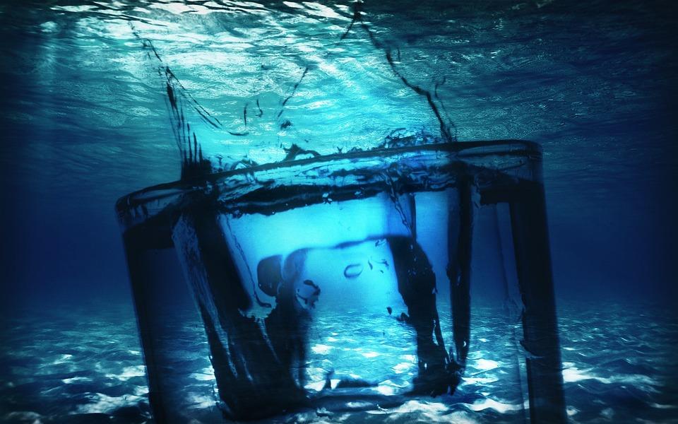 Glass, Water Glass, Water, Ocean Floor, Sand, Ice Cubes