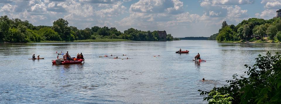 Boats, Lake, People, Swim, Mud, Bayou, Grass, Water