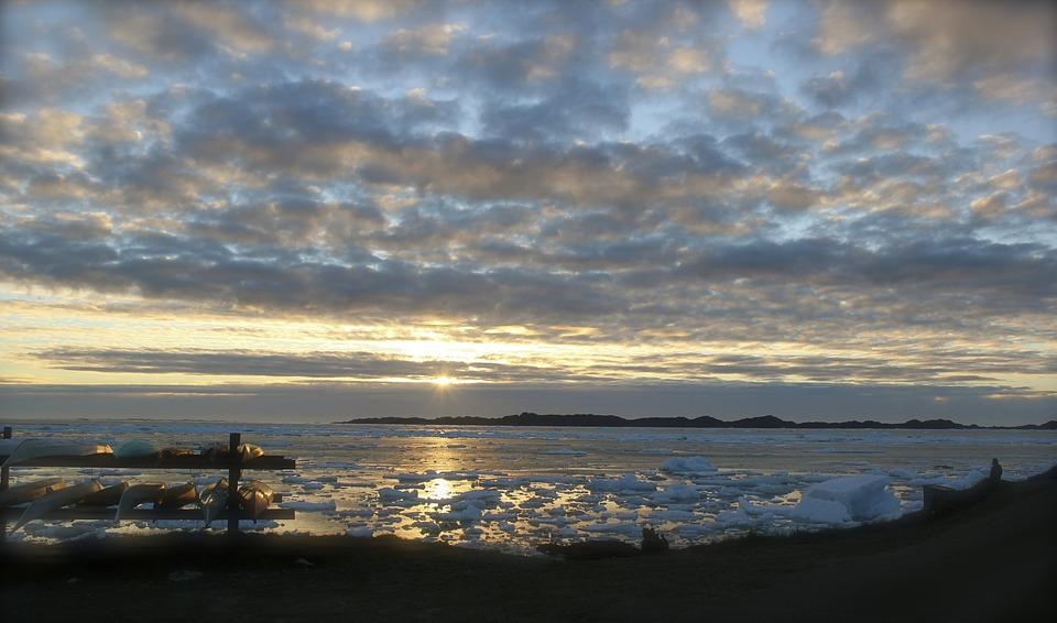 Sunset, Sunrise, Beautiful, Greenland, Ice, Water