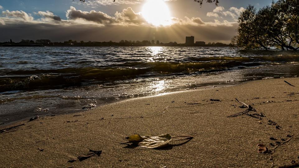 Elbe, Evening, Water, Hamburg, Beach, River, Sky