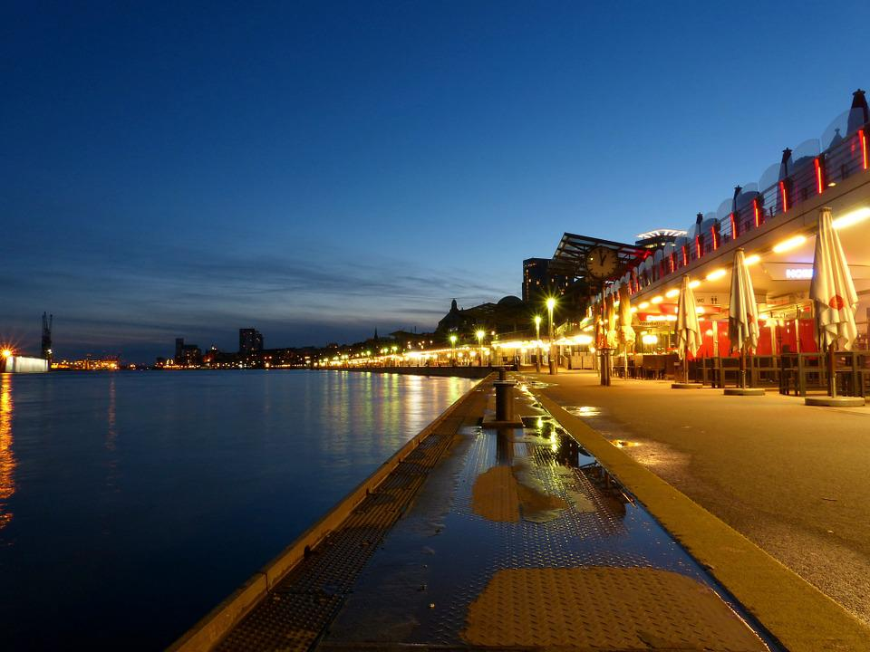 Hamburg, Evening, Twilight, Water, Abendstimmung, Rest