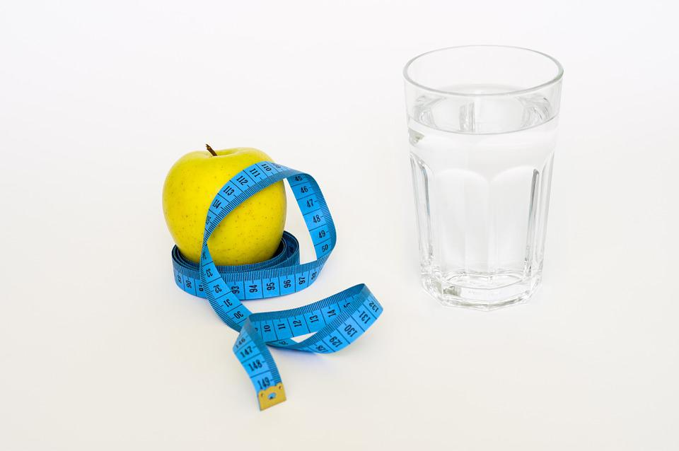 Tape, Apple, Glas, Water, Blue, Diet, Healthy, Health