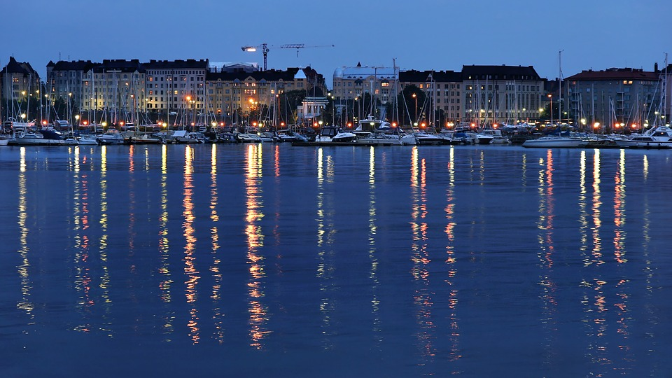 Helsinki, City, Night, Finland, Finnish, Water