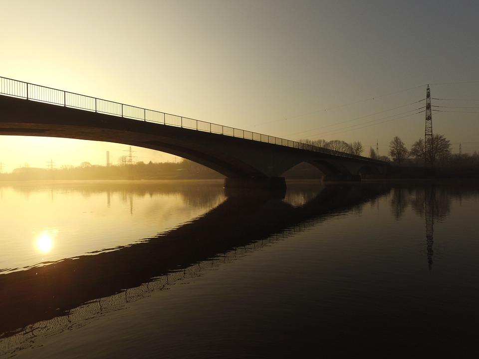 Hagen, Lake, Hengsteysee, Winter, Sunrise, Water