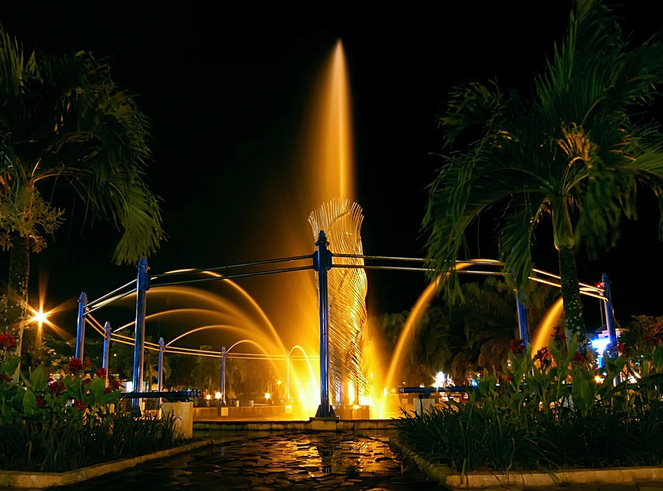Balikpapan, Indonesia, Fountain, City, Water, Night