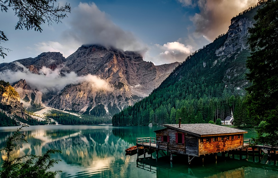 Italy, Mountains, Pragser Wildsee, Lake, Water