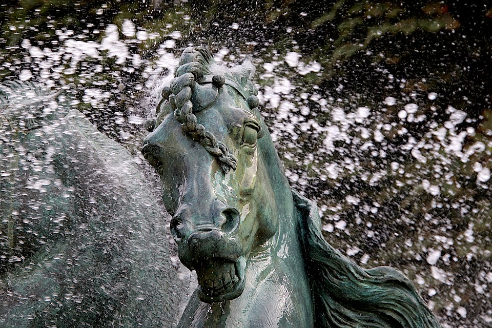 Sculpture, Horse, Fountain, Water Jet, Splash, Symbol