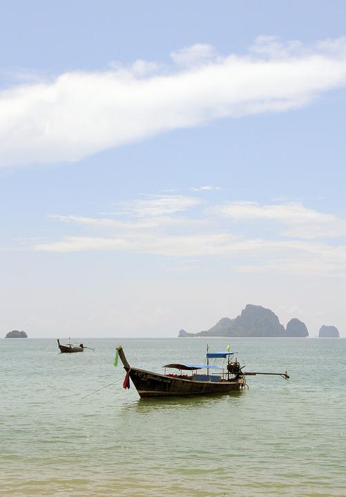 Thailand, Boats, Shore, Sea, Krabi, Nature, Sky, Water