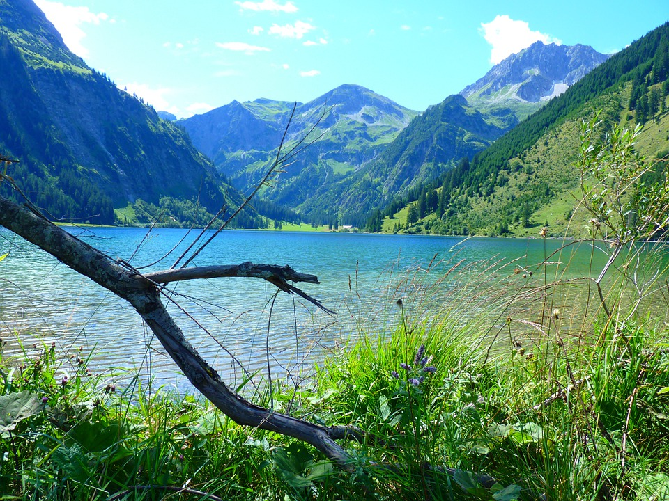 Lake, Mountains, Water, Landscape, Nature, Vilsalpsee
