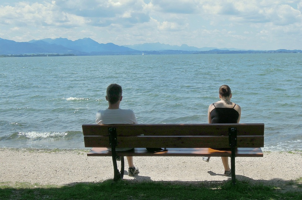 Bench, Sea, Lake, Water, Summer, Relax, Mood, Human