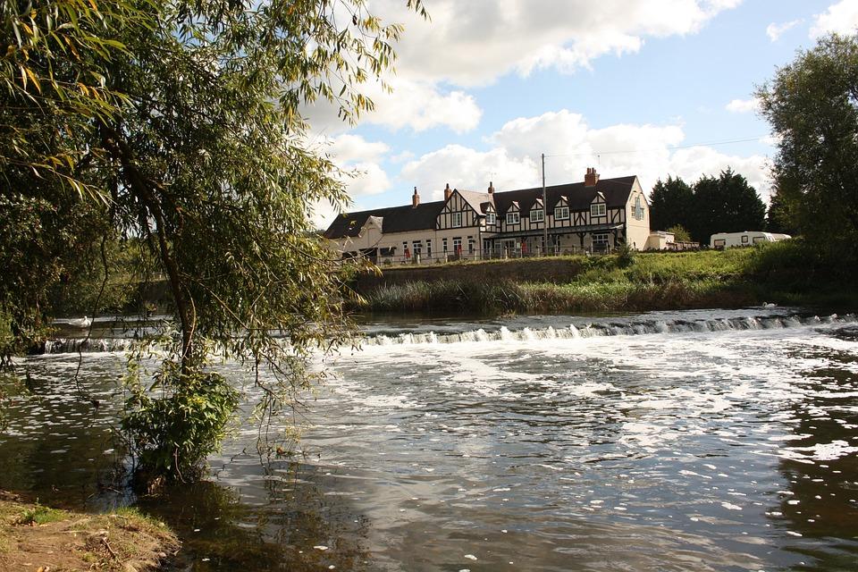 England, Pub, Historical, Water, River, Landscape