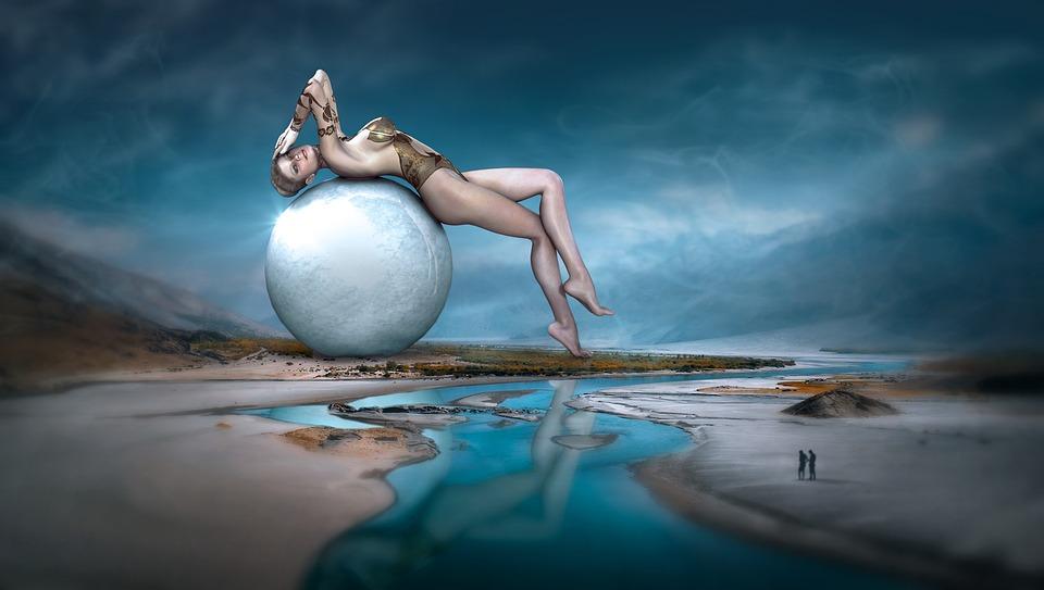 Fantasy, Landscape, Woman, Ball, Water, Mystical