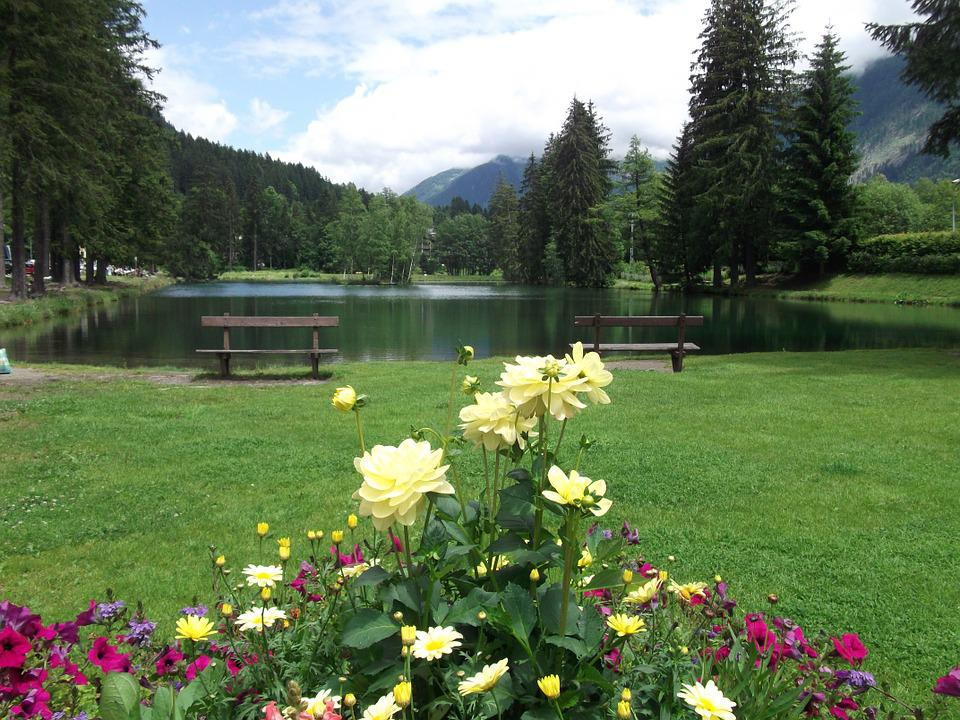 Lake, Park, France, Chamonix, Nature, Water, Landscape