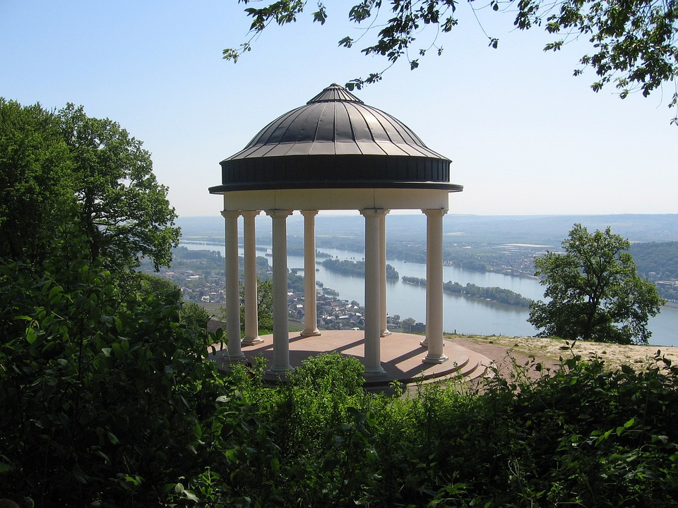 Rüdesheim, Vineyards, Temple, Landscape, Water