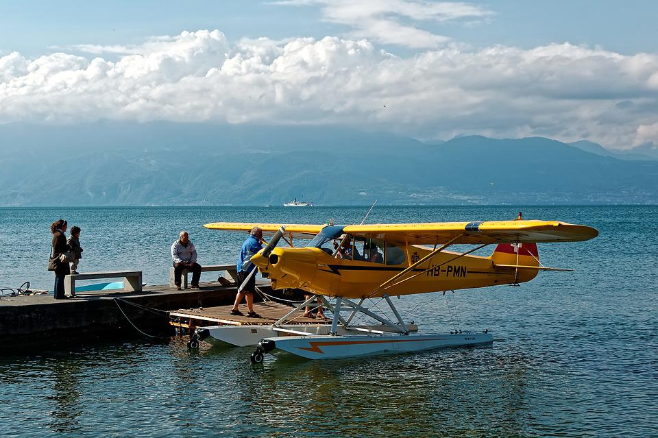 Geneva, Lake, Lausanne, Ouchy, Water, Aircraft, Yellow