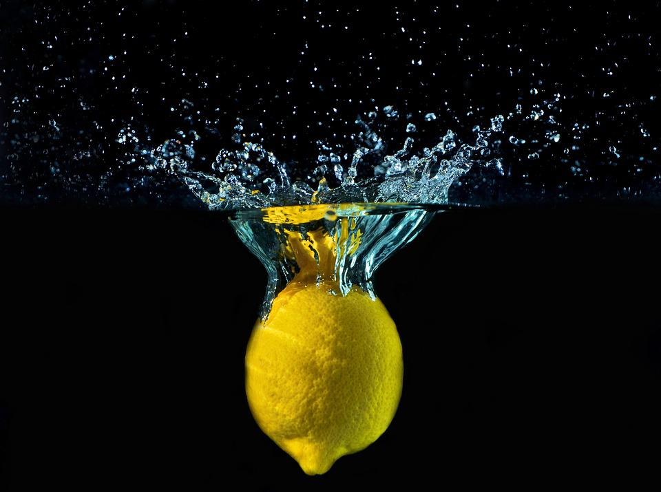 Lemon, Water, Drops, Yellow, Detail, Fruit, Fall, Bark