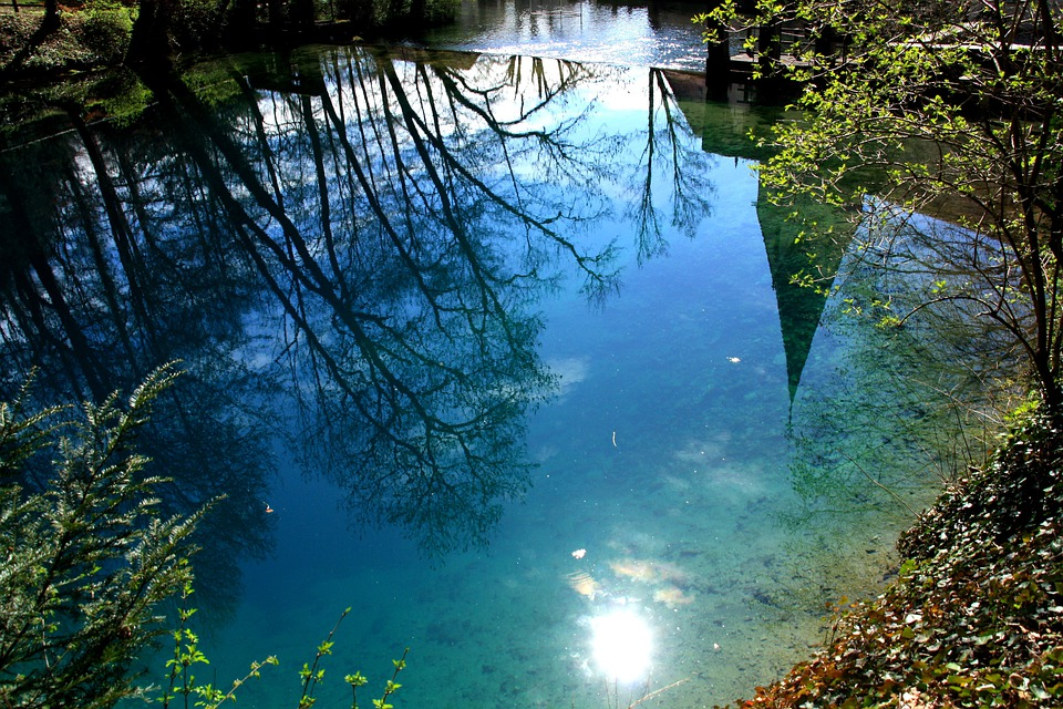 Blautopf, Color, Mirroring, Sun, Lichtspiel, Water