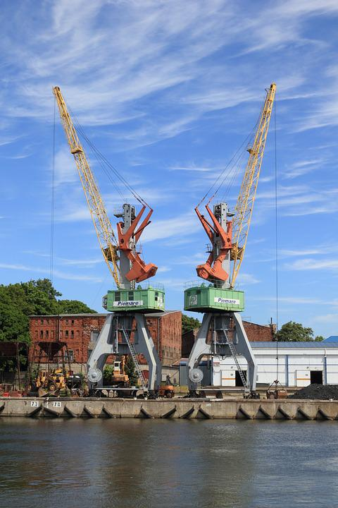 Latvia, Liepaja, Harbor, Cranes, Water