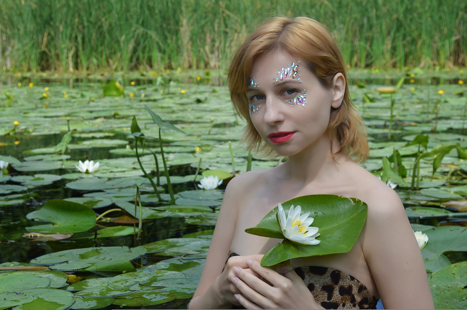 Lily, Lotus, Water Lily, Woman, Portrait, Small River