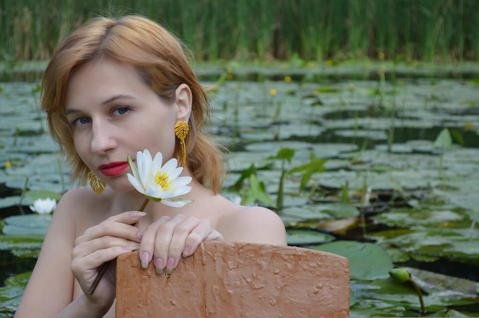 Lily, Lotus, Water Lily, Woman, Portrait