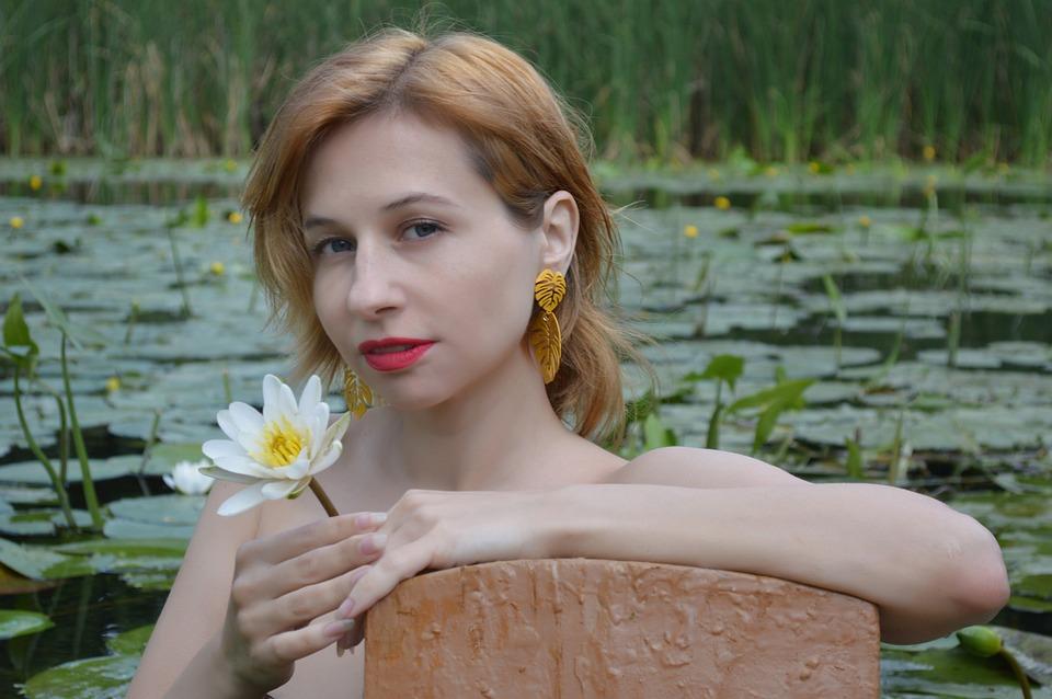 Lotus, Water Lily, Lily, Portrait, Woman, River, Pond