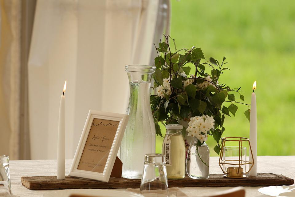Deco, Water, Bouquet, Map, Vase, Candles, Light, Fire